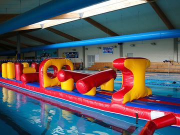 54 FT Long Giant Water Inflatable Obstacle Course With Slide Durable 0.9mm PVC