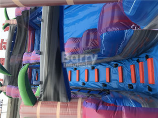 Purple Adult Kids Inflatable Water Slides With Pool , Slip n Slide