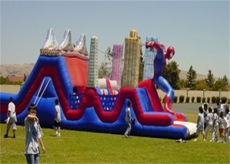 Waterproof Large Commercial Spiderman Bouncer Obstacle Course for Rent
