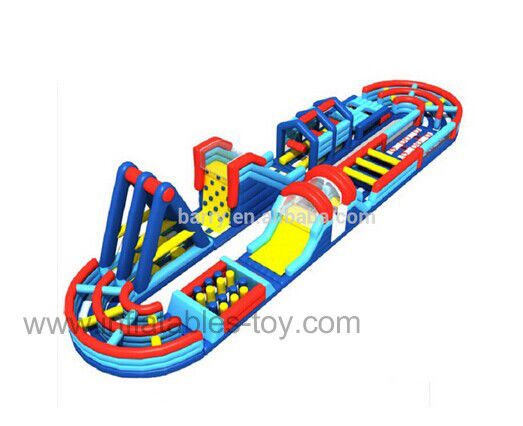 Multielement PVC Tarpaulin Inflatable Obstacle Course With Boot Camp Wipeout