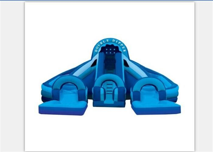 Huge Durable Long Inflatable Water Slides With Double Dipper EN71
